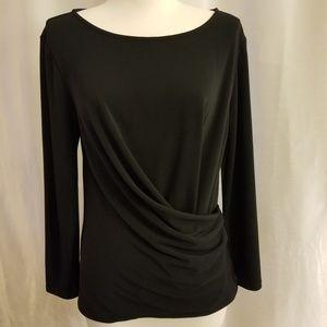 Ann Taylor Black 3/4 Sleeve Drape Top